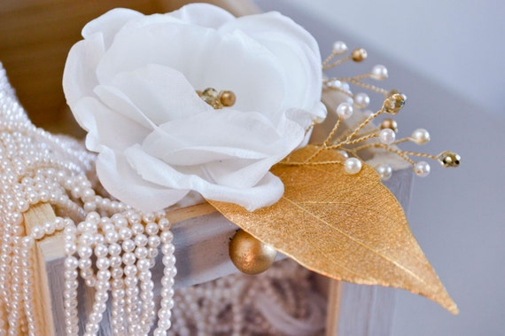 Bridal Flower Hair Pin, White & Gold Rose, Wedding Accessories, Hair Flowers, Vintage Style