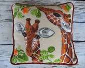 HOLD FOR MB 70's giraffe needlepoint pillow, hand stitched, handmade in 1977, wild animals pillow, sofa decor