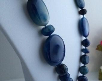 Blue Agate Gemstone Beaded Necklace, Chunky Stone Jewelry