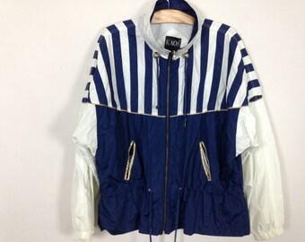 90s striped windbreaker jacket size L