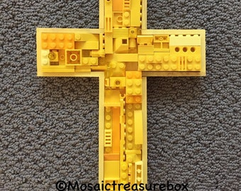 Handmade mosaic cross,  communion, baby gift, toy brick cross