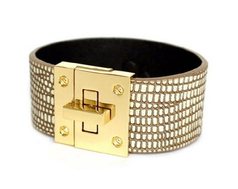 037 SOFT BROWN- Leather Cuff Bracelet