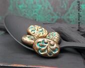 Matte Finish Gilded Brass Blue Polymer Flat Oval Bead - Faux Brass Scroll Design Boho Hippie Oval Bead - 10x18mm - Pkg. 4