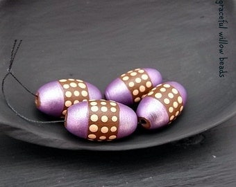 Handmade Polymer Oval Bead - Lilac Brown Mocha Polka Dot - Moroccan Style Bohemian Bead - 16x8mm - Pkg. 4
