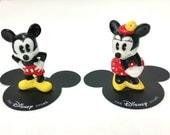 Vintage Walt Disney Miniature MICKEY & MINNIE MOUSE Bone China Ceramic Porcelain Figurines Pie-eyed Set