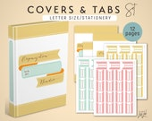 Printable COVERSHEET and TABS Set - Stationery Theme - Letter Size - for Home Management, Small Business and Personal Organization Binder