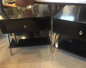 2 Century Black Nightstands Traditional Tables.Antiques Nightstans. Bedroom Nightstands.