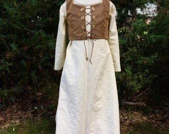 Village Peasant Dress, Girls costume, women's renaissance costume, renaissance faire, LARP costume, teen renfaire, fairie