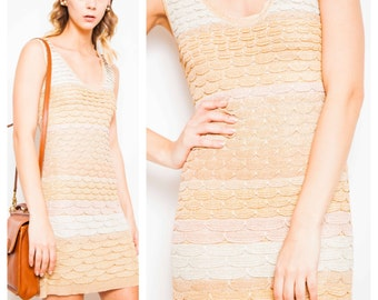 S.A.L.E was 450 now 150 divine vintage MISSONI metallic zig zag scalloped space knit body con dress