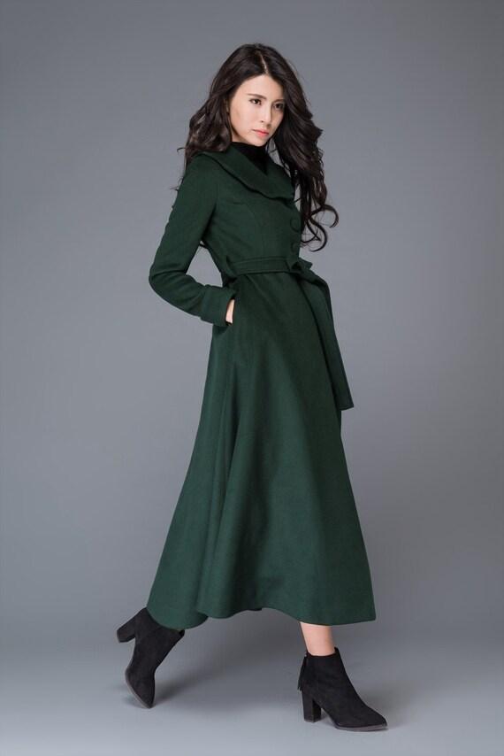 princess coat green wool coat womens coats vintage coat