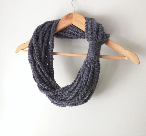 Gray Scarf Necklace . Mid Length . Gray Scarf . Chain Scarf . Gray Infinity Scarf . Knit Chain Scarf . Indie Clothes . Rope Scarf . DottieQ