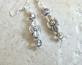 Silver Flower Earrings with Faceted Beads
