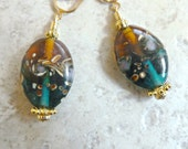 Clip Glass Teal & Amber Earrings