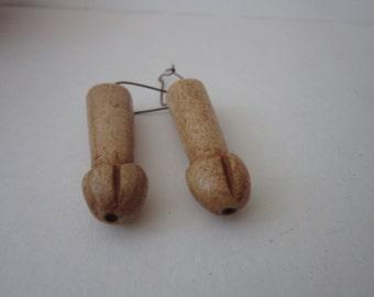 Buffalo Bone Carved Penis Earrings Dangle Kidney Hoops Jewelry Tribal Boho 1