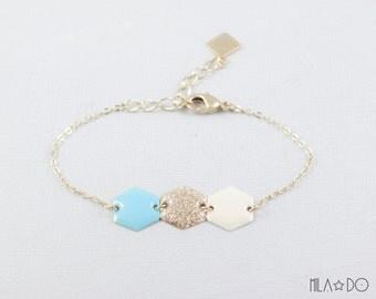 Asti bracelet ivory gold glitter aqua || Resin and brass hexagon bracelet