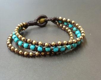Middle Turquoise  Knot Brass Bracelet