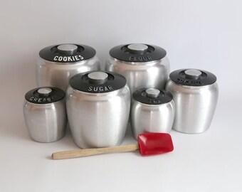 Vintage Kromex Aluminum Kitchen Canister Set, Retro Mid Century Kitchen Canister Set