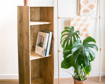 Tall wooden wine crate cabinet / book case with hairpin legs - mid century meets modern furniture for your living room