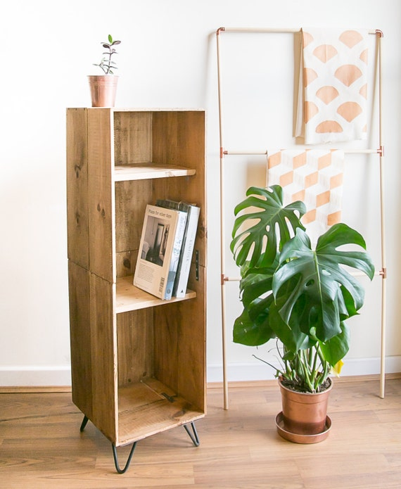 Tall Wooden Wine Crate Cabinet Book Case With Hairpin Legs