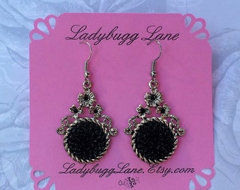 Black Mums   Earrings