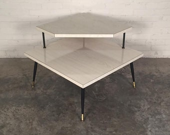 Mid-Century Modern 2-Tier Corner Table / End Table - SHIPPING NOT INCLUDED