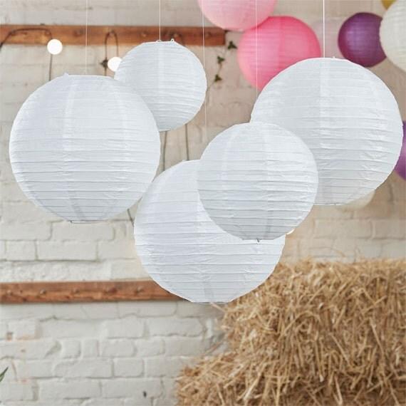 Boho wedding decor white paper lanterns wedding dcorations - White hanging paper lanterns ...