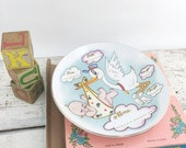 ON SALE NOS Vintage Lefton New Baby Wall Plaque Plate