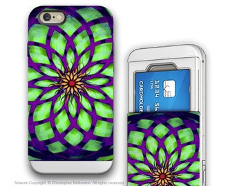 Geometric Lotus iPhone 6 6s Cardholder Case - Kalotuscope - Purple and Green Apple iPhone 6 6s Wallet Case with Rubber Sides