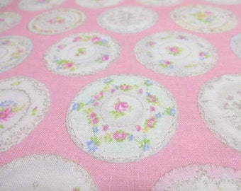 SALE Japanese Fabric YUWA Circle Flower Pink Fat Quarter