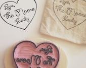 Heart Outline Family Rubber Stamp, Customized handmade