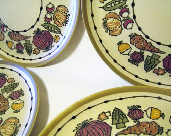 20% Off SALE // RARE Holt Howard Vegetable Patterned Plates / Luncheon Salad or Appetizer / Whimsical Stoneware / HH Collectible