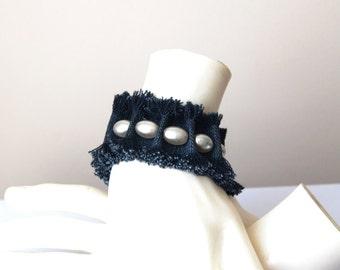 FREE Shipping Ivory Pearl    Ruff Edged Denim Blue Jean Bracelet, Denim Bracelet Cuff , Recycled Blue Jean Bracelet,