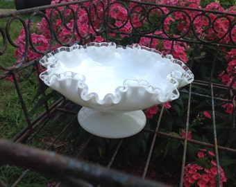 Vintage Compote Pedestal Ruffled Silver Crested Milk Glass Serving / Candy Dish