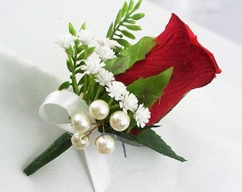Red rose boutonniere Red rose wedding groom flowers rosebud bout groomsmen Cherry Mens wedding boutonnieres men corsage Winter buttonholes