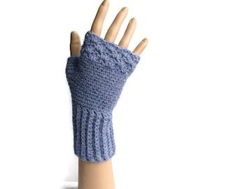 Blue Alpaca Gloves, Women's Crochet Gloves, Blue Fingerless Gloves,  Cute Wristwarmers, Soft Woollen Gloves, Useful Gift Ideas, FREE UK P&P