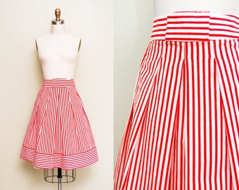 Vintage Candy Stripe Cotton A-line Skirt / Red Pinstripe NOVELTY Print / High Banded Waist / Medium