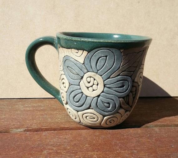 Handmade Coil-Built Pottery Flower Mug by KulshanClayworks ...