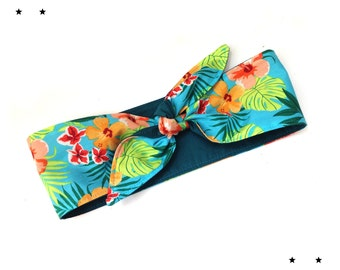 Rockabilly Head scarf head band Hawaii hibiscus