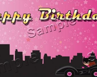 BatGirl - Personalized Large 2x4 Custom Vinyl Birthday Banner