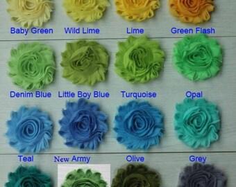 "25 SOLID Shabby Flowers ~ 2.5"" Chiffon Flowers"