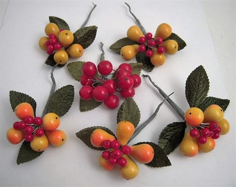 6 Vintage Millinery Lacquer Fruit Corsages Velvet Leaves Pears Cherries Berries Wired Stem Composition