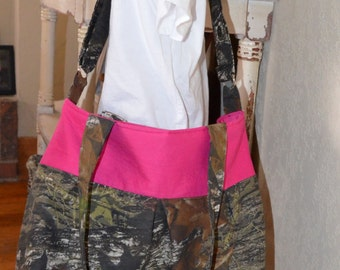 Handmade pleated messenger diaper bag or work bag made with camo