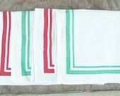 Linen Napkins Green and Red Trimmed Christmas Table Linens Set Of 4 100 Percent Linen Casual Table Linens Casual Napkins Ivory