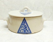 Glidden Pottery Bowl With Lid Covered Tan Stoneware Container Blue Counterpane Fred Press 365H Fong Chow Alfred NY