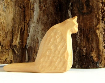 Primitive Art, Wood Art, Wooden Sculpture, Woodcarving, Carved Animals, Carved Cat, Wooden Cat