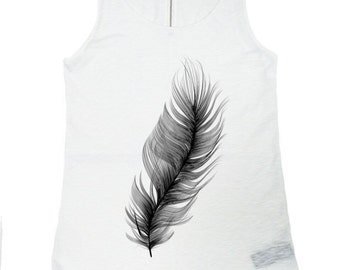 "NEW Spring/Summer White / Gentle as   ""Feather "" Tank  Top /  Soft Casual Cotton Sport Wear /  Extravagant Tank Top, (0323) A04402"