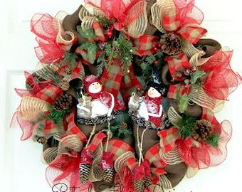 Christmas Snowman Wreath, Holiday Wreath, Snowman Decoration, Winter Wreath w Snowman, Country Wreath, Brown Red  White, Burlap & Deco Mesh