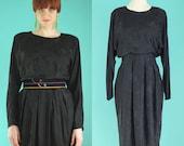 Vintage 80s Black Silk Dress - Cocktail Dress - Long Sleeve Little Black Dress - Button Back Dress - Mother of the Bride Dress - Size Medium