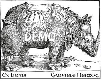 Bookplate Rubber Stamp, Rhinoceros