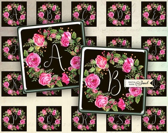 Sweet Initials - black - squares image - digital collage sheet - 1 x 1 inch - Printable